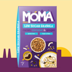 product picture featuring a purple box of MOMA granola