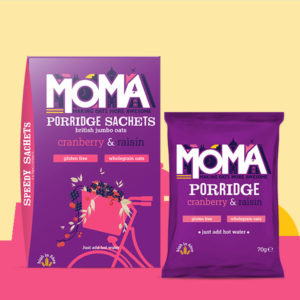 purple Product picture of MOMA porridge with cranberry and raisins.