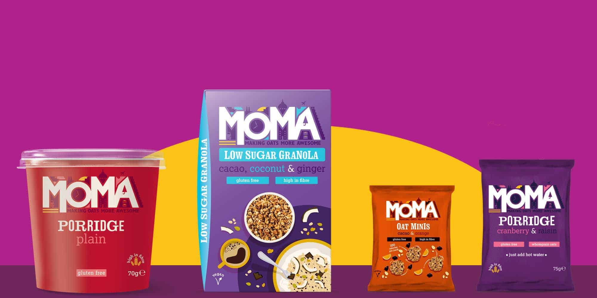 MOMA Porridge SWITZERLAND banner featuring all product types