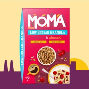 a product imaging containing our new low sugar granola with almonds and cherries.